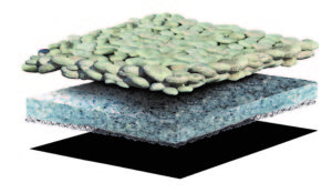 Layer of stone ballast sits on top of geo-composite of recyled fleece and texiles adhered to entangled mesh.