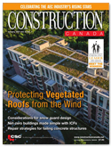Construction Canada magazine cover with aerial view of luxury condo building's vegetated roof.
