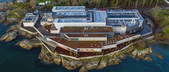 Aerial photo of green roofs on Mclouglin Point Water Treatment Plant